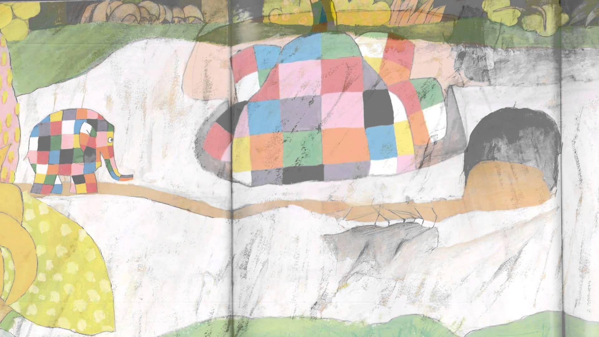 Elmer en vlinder