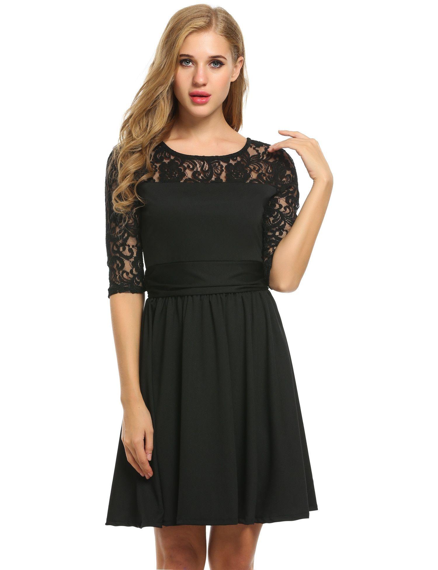 Lace Crochet 3/4 Sleeve Pleated Wedding Bridesmaid Dresses