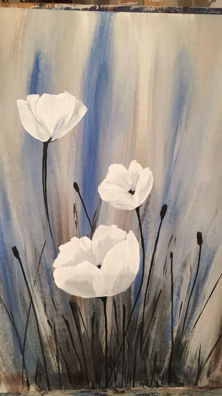 White Poppy Beauty Tuval Sanati Soyut Sanat Tablolari Ve