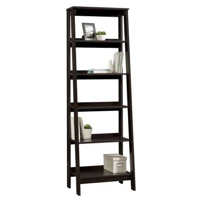 Livingroom 5 Shelf Trestle Bookcase Espresso Cookbooks Be