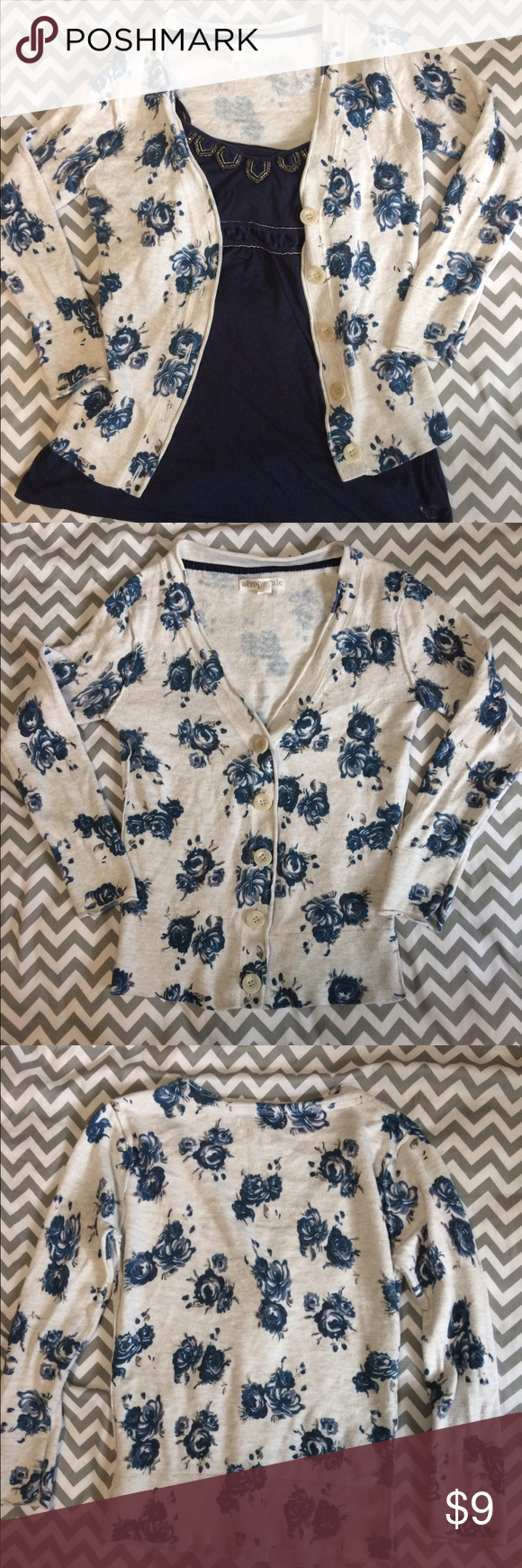 Aeropostale Cardigan This floral cardigan is a perfect addition to your spring wardrobe. In great condition with a button down front and quarter length sleeves. Aeropostale Sweaters Cardigans