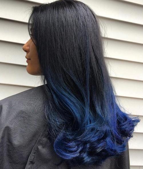 6 Long Black Hair With Blue Dip Dye Jpg 500 590 Dyed Hair Blue