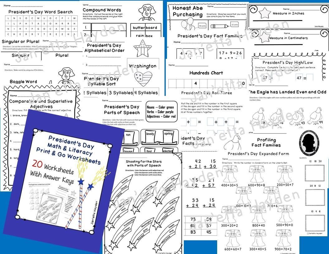 President S Day Math Amp Literacy Print And Go Pack