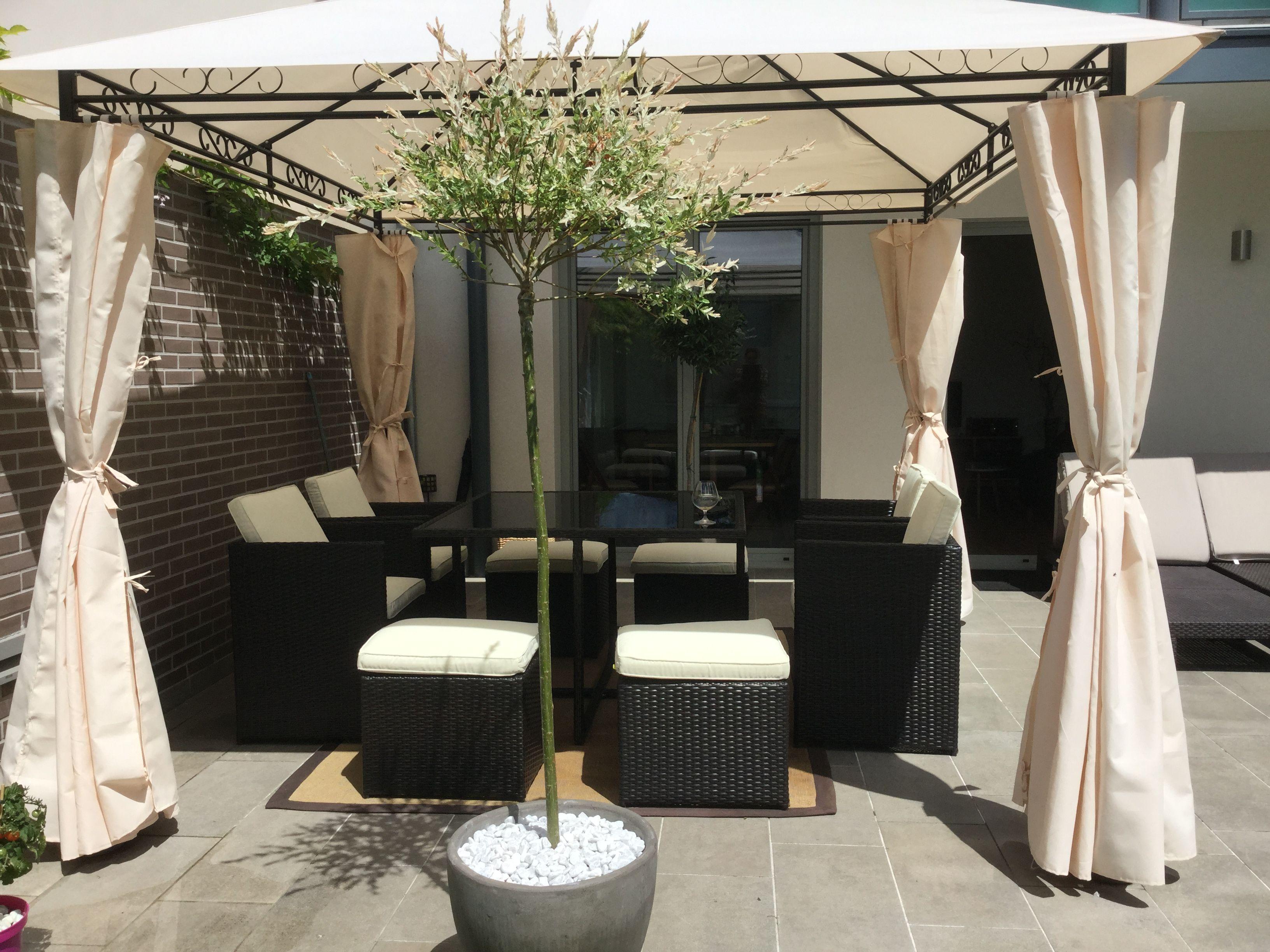 Bolzano : table de jardin encastrable 8 places, en résine tressée ...