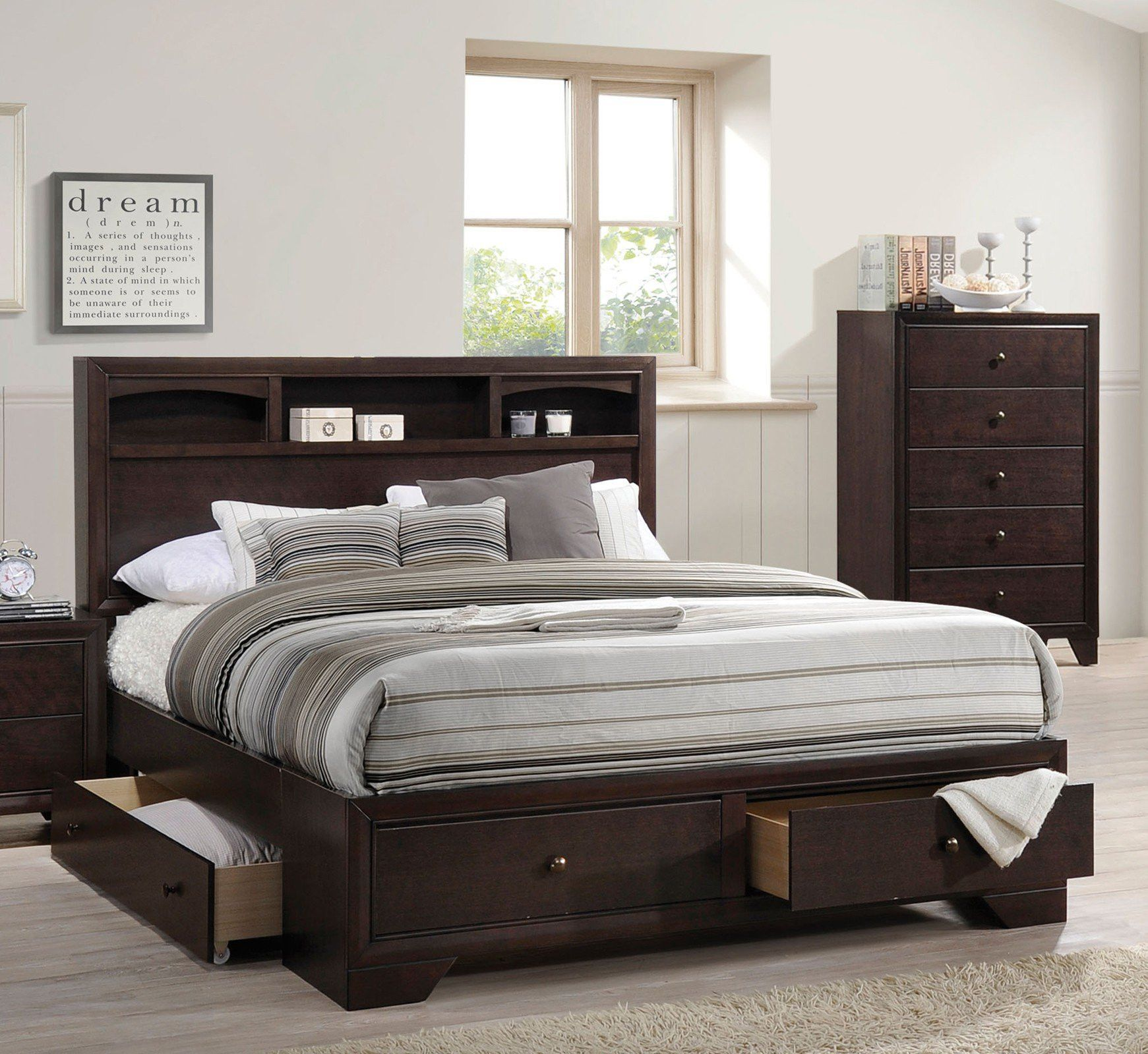 ACME Madison II Eastern King Bed w/Storage Espresso - 19557EK ...