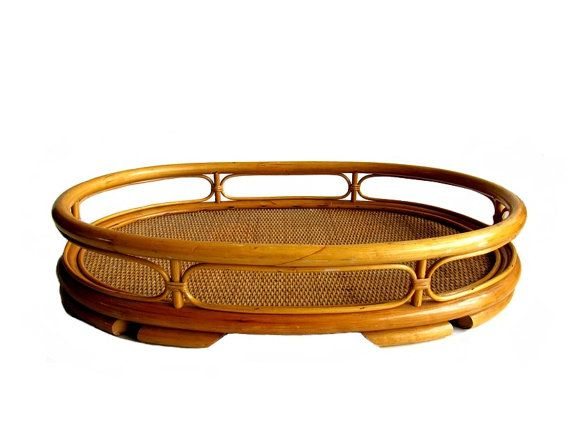 Vintage Bamboo Rattan Extra Large Oval Serving By EncoreEmporium