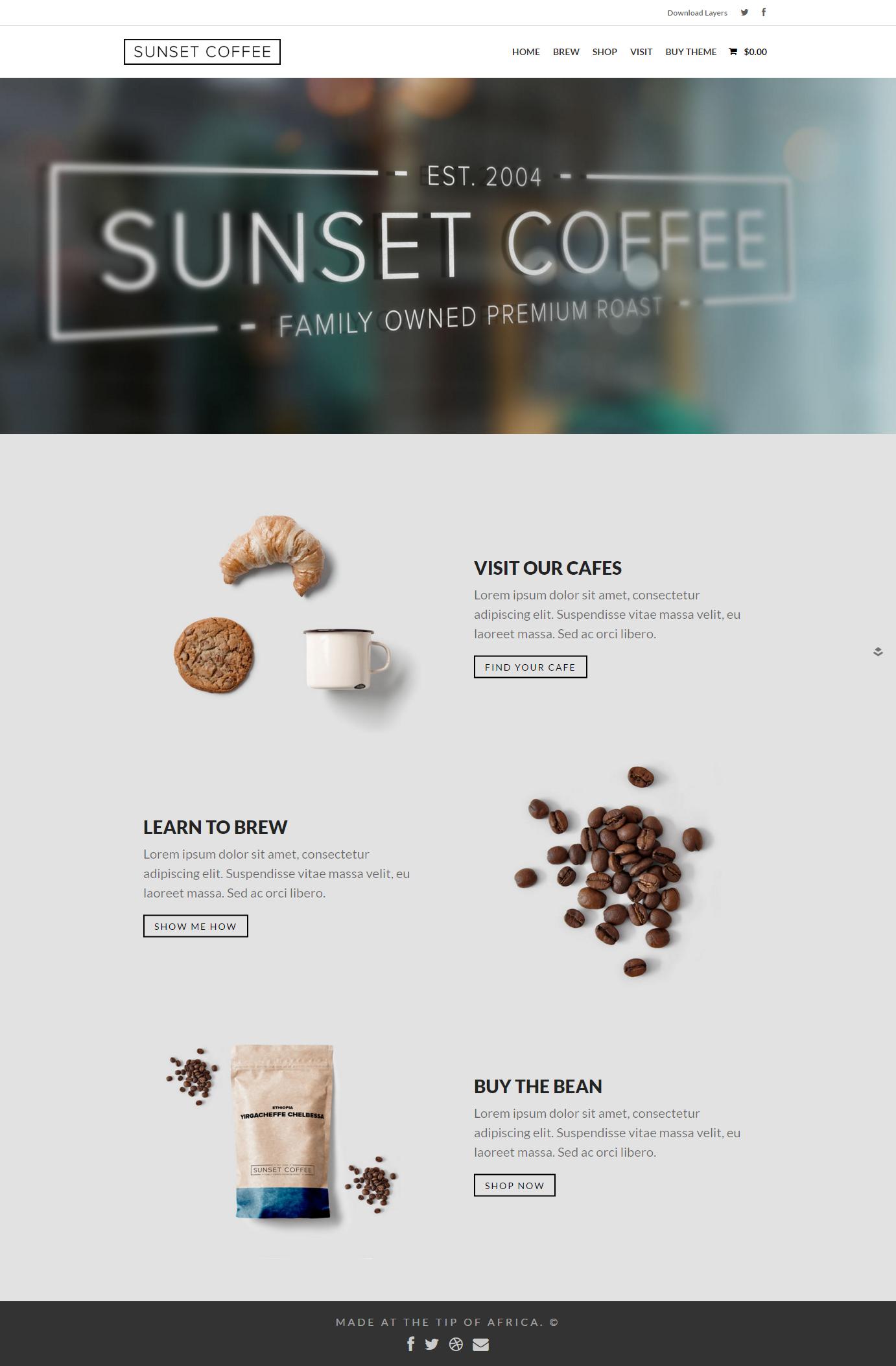 Free Sunset Coffee Layers Woocommerce Theme Coffee Websites Woocommerce Themes Cafe Website