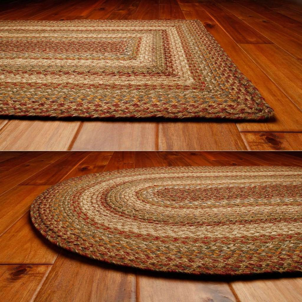 Harvest Oval Braided Rug 5x8 Measures 5x8 Colors Barn Red Creme Khaki Green Gold And Slate Made Fr Braided Jute Rug Oval Braided Rugs Braided Rugs