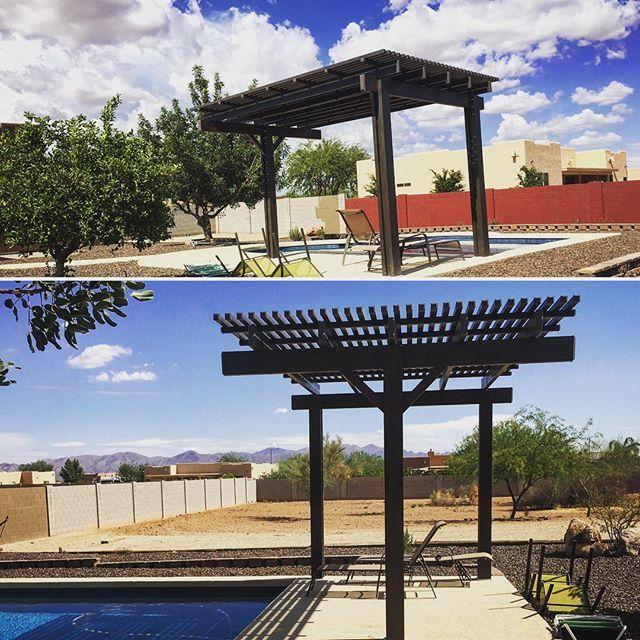 three post free standing brown lattice pergola installed in the