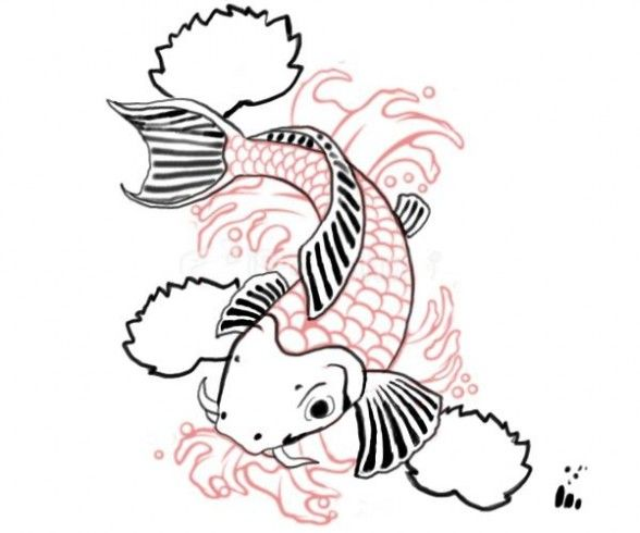 Simple Koi Art Drawings of tw Simple Koi