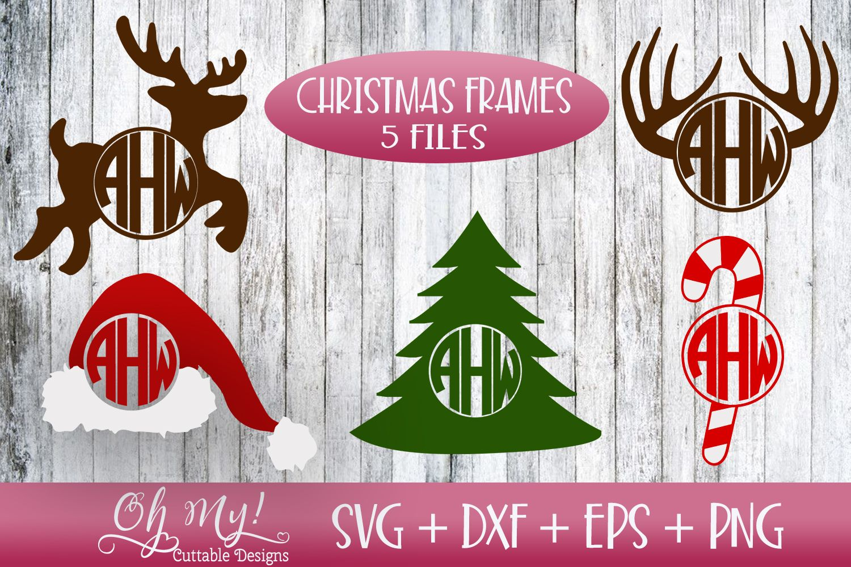 Christmas Monogram Frames Bundle 5 Files Svg Dxf Eps Png Example Image 1 Monogram Frame Monogram Fonts Christmas Monogram