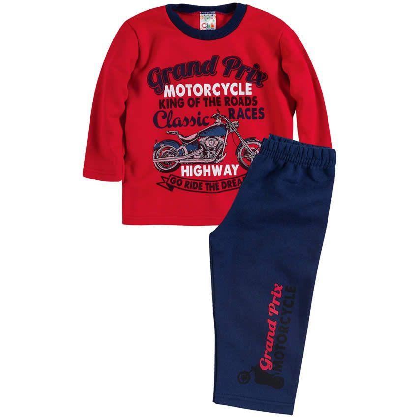 54dc1fa02 Conjunto Infantil Masculino Motorcycle Vermelho - Brandili    764 Kids