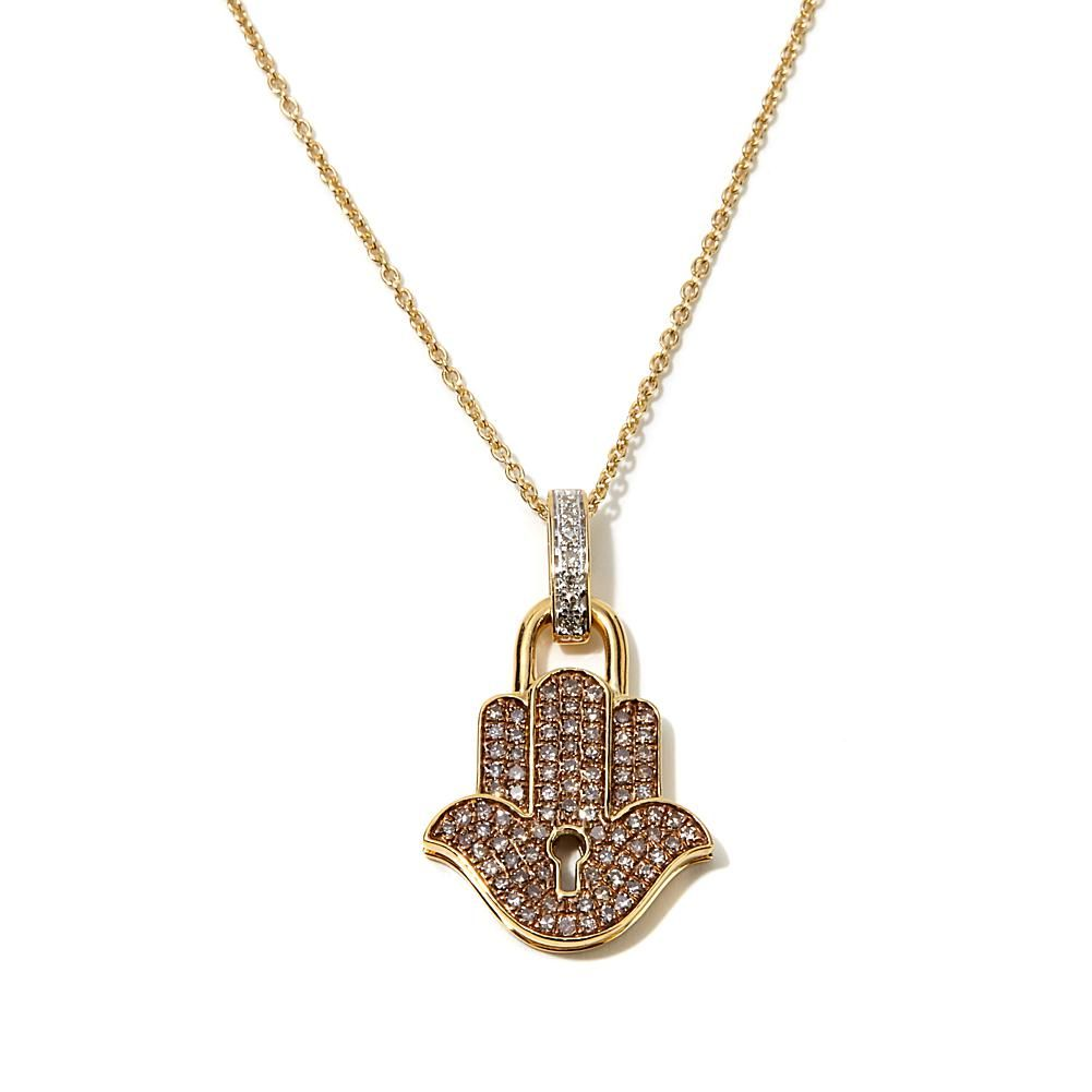 "Rarities Fine Jewelry with Carol Brodie Rarities: Fine Jewelry with Carol Brodie 0.59ctw Colored Diamond ""Hamsa"" Vermeil Pendant with 16"" Chain -"