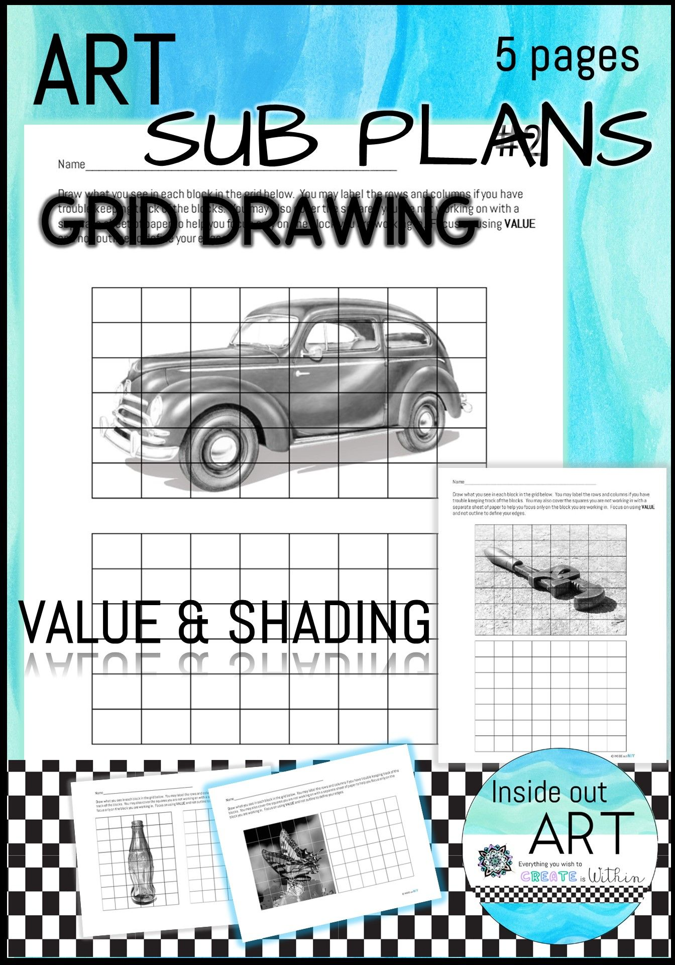 Art Sub Plan Grid Drawing Package 2 In