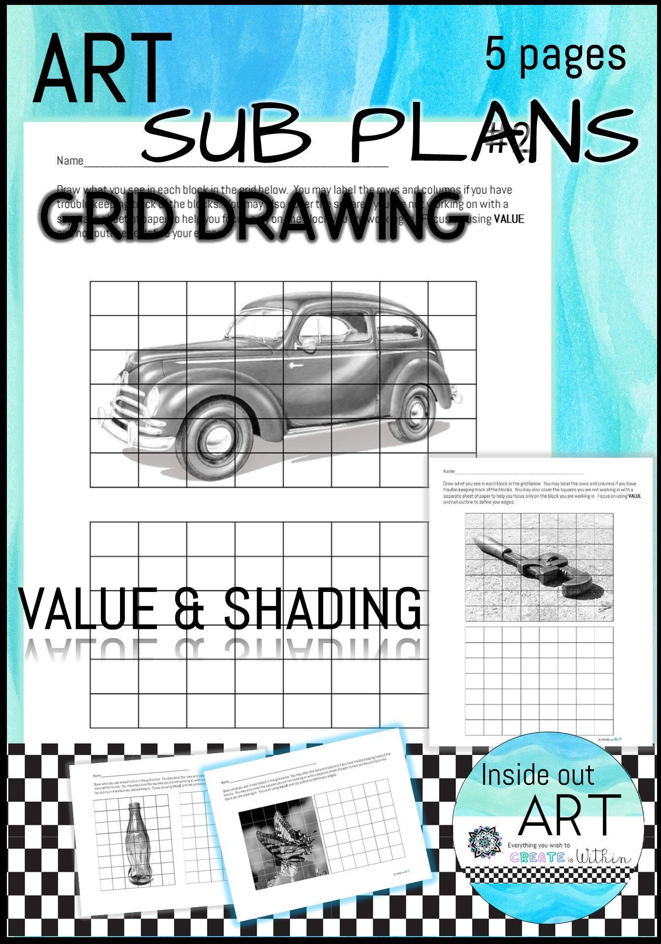 Art Sub Plan Grid Drawing Package 2 In