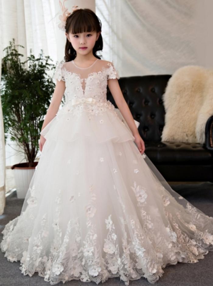 b756333d6da24 White Short Sleeves Beading Ball Gown Flower Girl Dress | *Prom ...