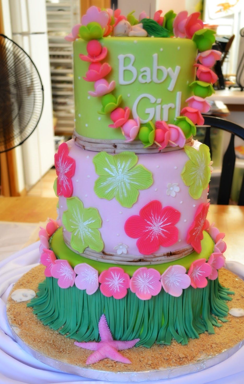 Hawaiian Baby Shower and a hockey bag... | Baby girl cakes ...