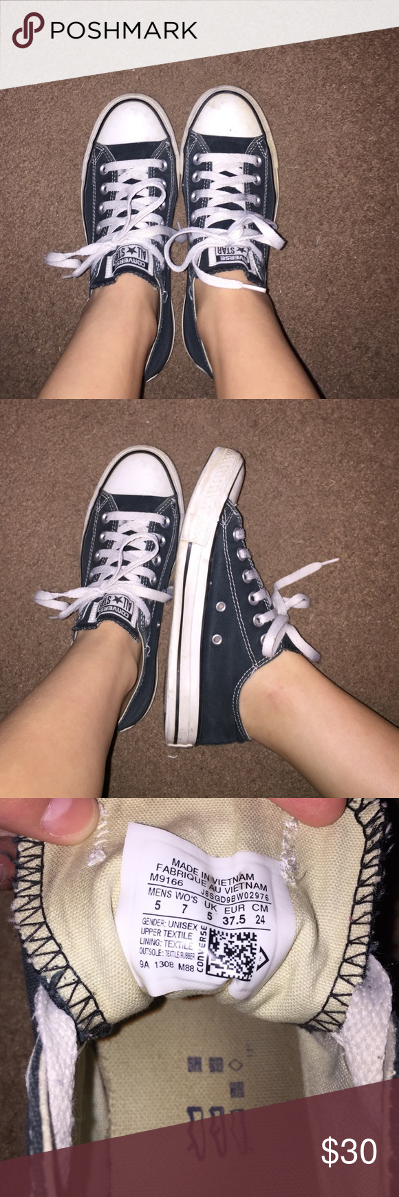 Black low top converse Bout a year old, haven't worn them in months, black, no rips or tears, good condition Converse Shoes Sneakers