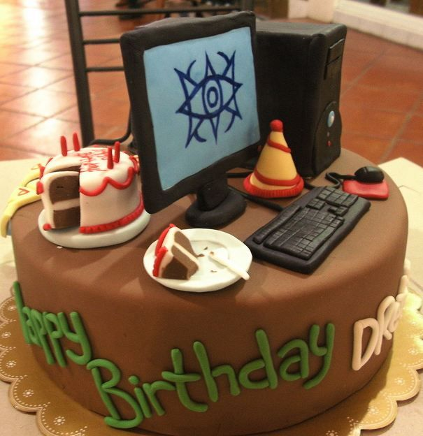 Chocolate Birthday Cake With Computer And Faux Topper