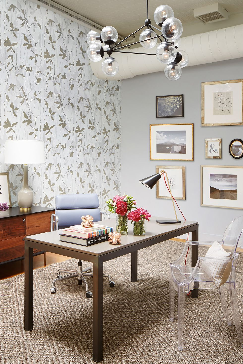 Office Decorating Ideas Blog A leafy wallpaper brings bohemian elegance to an urban loft office.