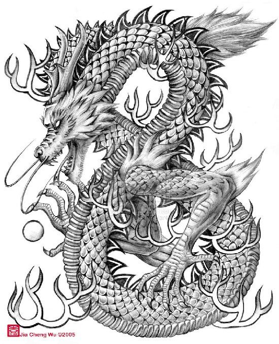 Chinese Lion Drawing Tattoo