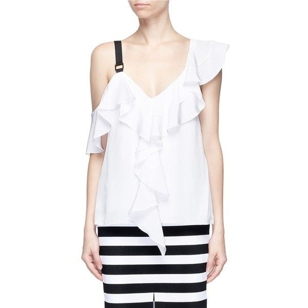 bfa04071234ad Proenza Schouler Asymmetric ruffle silk crepe top (€660) ❤ liked on  Polyvore featuring