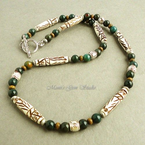 Handmade Mens Necklace - Carved Bone and Bloodstone - Tribal Style | Mamis_Gem_Studio - Jewelry on ArtFire