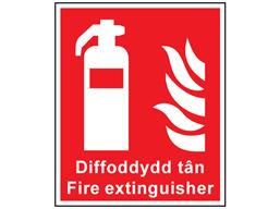 Diffoddydd Tan Fire Extinguisher Welsh English Sign Wfs100 Label Source Fire Extinguisher Symbols Extinguisher