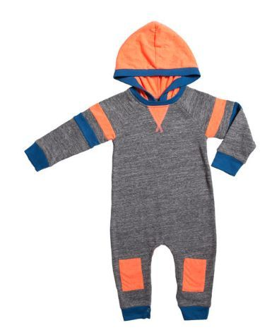 Miki Miette Ali Long Sleeve Romper with Hood in Heather Grey (Size 12mo)