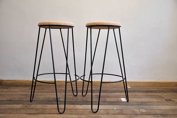 Industrial Bar Stool With Cork Seat Handmade Bar Stools Industrial Bar Stools Stool