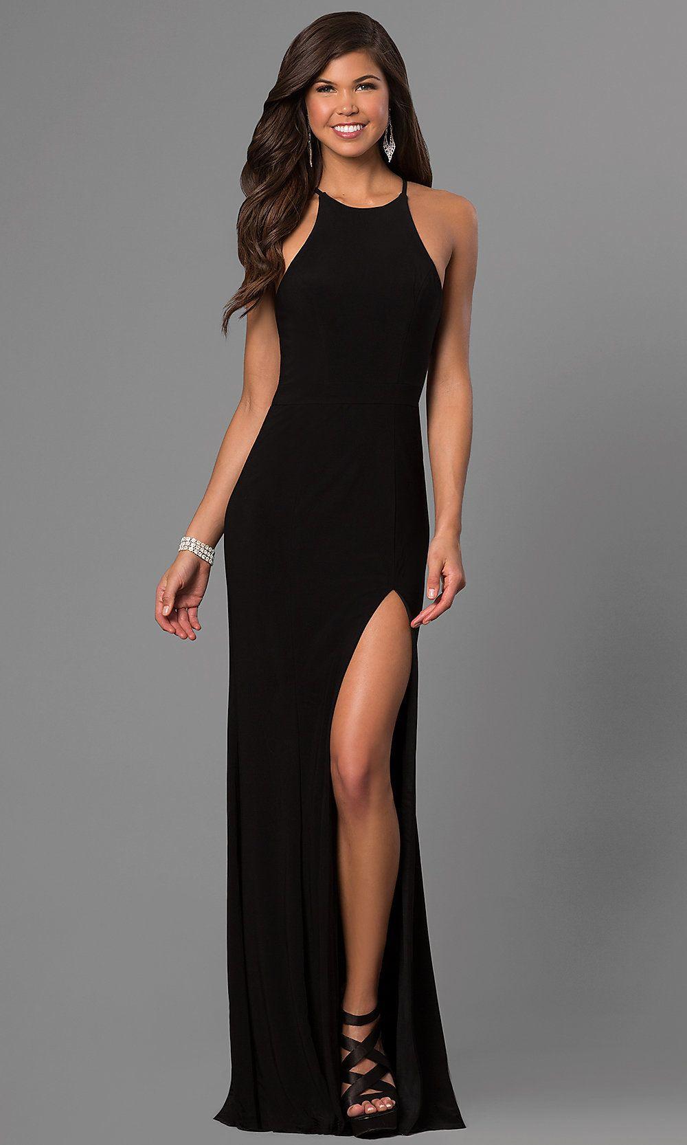 High Neck Open Back Long Black Prom Dress Prom Dresses Long Black Faviana Prom Dresses Black Prom Dress [ 1666 x 1000 Pixel ]