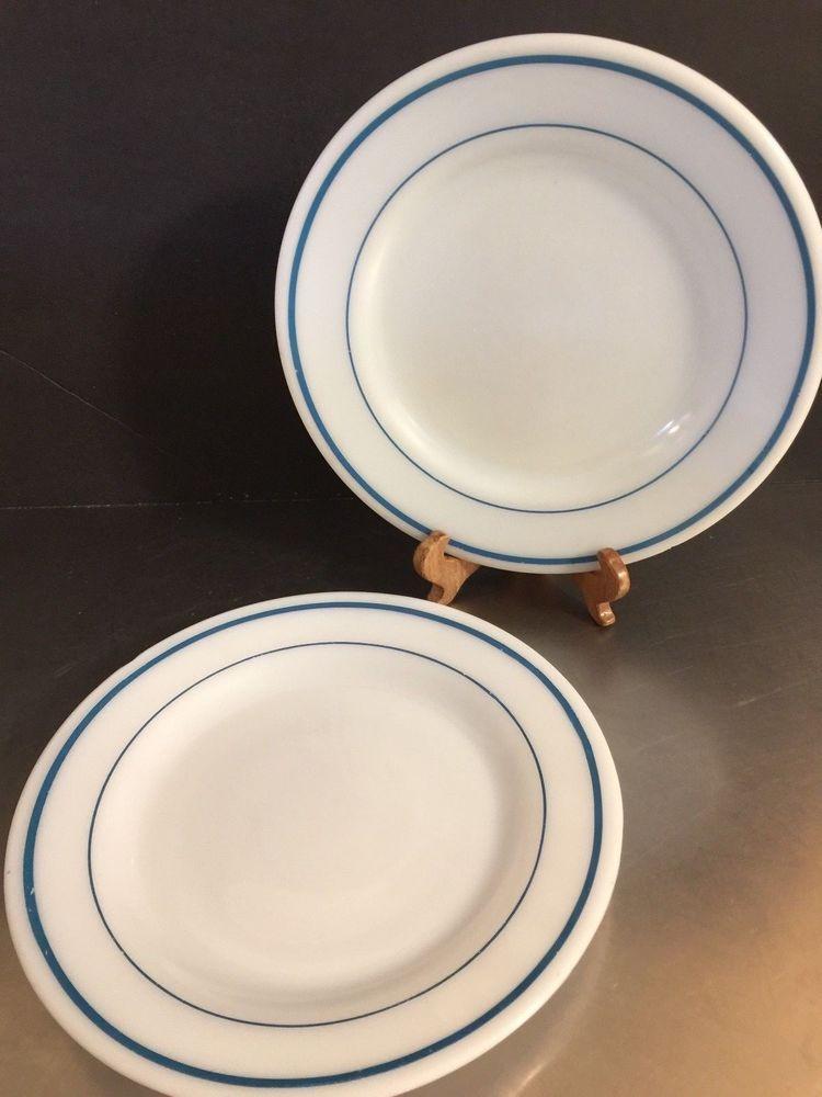 Vintage Milk Glass Plates Pyrex Anchor Hocking White Blue Stripe Made USA Set 2 #MidCenturyModern & Vintage Milk Glass Plates Pyrex Anchor Hocking White Blue Stripe ...