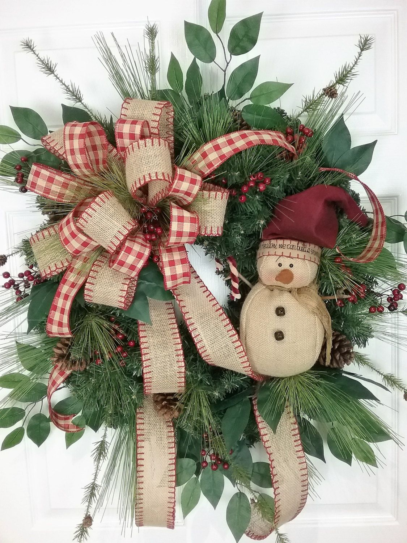 Fiber optic christmas snowman wreath decoration - Christmas Wreath Winter Wreath Snowman Wreath Country Wreath