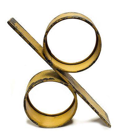 Look at this #zulilyfind! Yellow Percent Symbol Metal Décor #zulilyfinds