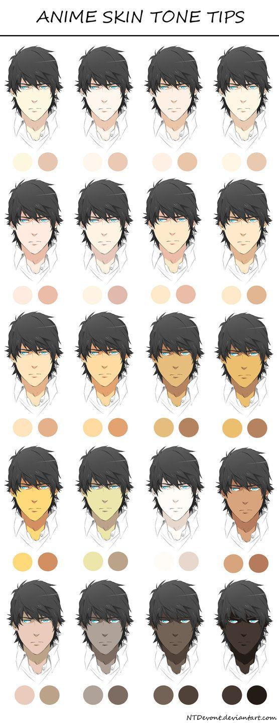 Anime Skin Tone Tips By Danzzila Deviantart Com On Deviantart Skin Color Palette Skin Palette Digital Painting Tutorials