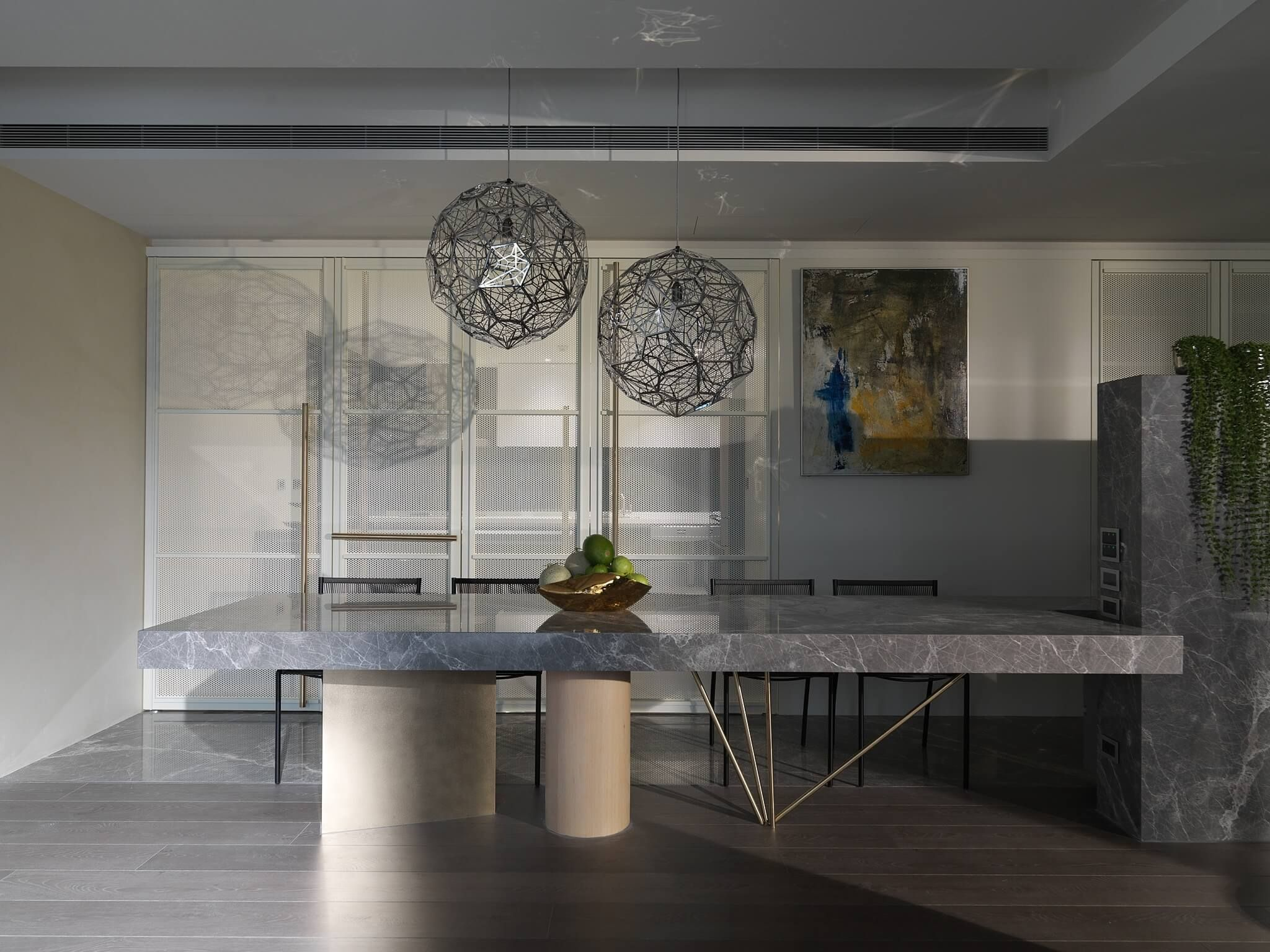 A Delicate Neutral Apartment Mixes Metal And Marble Dining Table