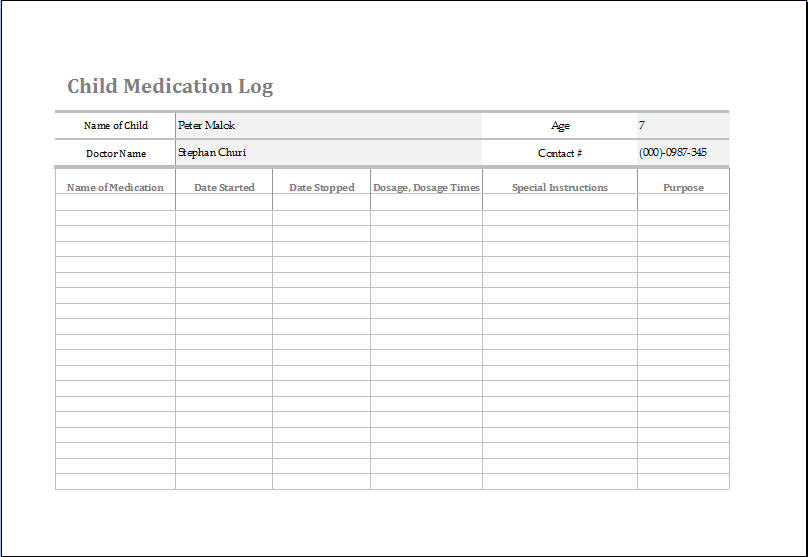 Child Medication Log Template At HttpWwwWordexceltemplatesCom