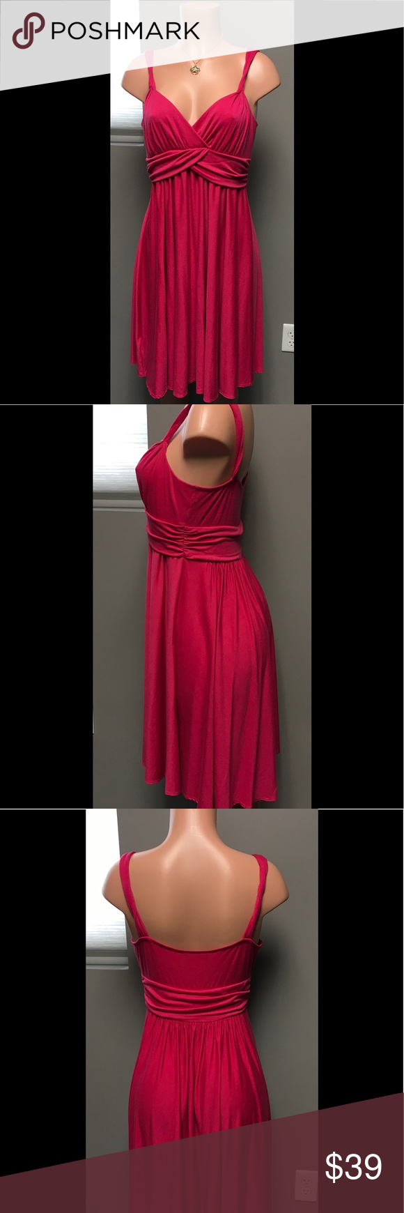 LOFT dress Beautiful hot pink SEXY dress...great for summer date night!  Excellent condition LOFT Dresses Midi
