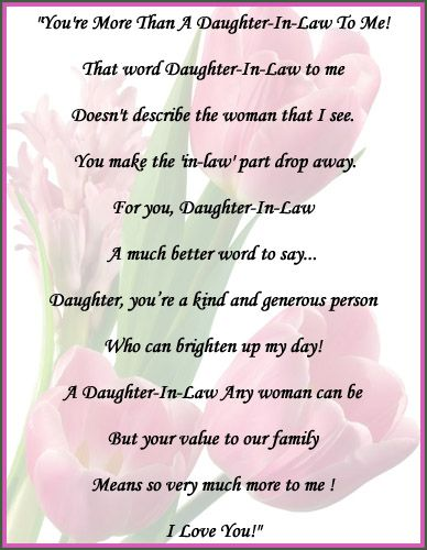 You\'re more than a daughter-in-law to me! That word daughter ...
