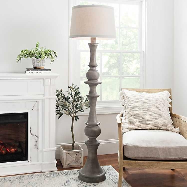 Kirkland S Floor Lamp Grey Black Floor Lamp Wood Floor Lamp