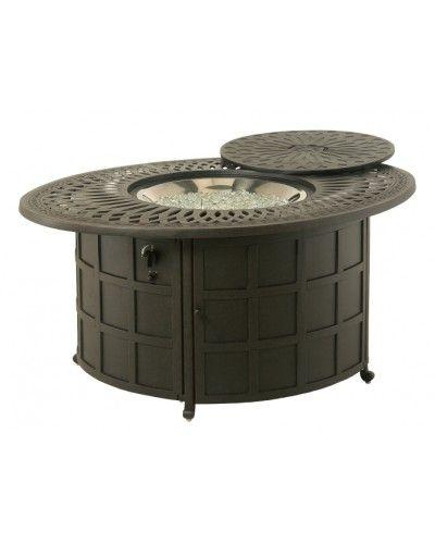 Hanamint Cast Aluminum Patio Furniture Reviews: Hanamint Mayfair Oval Closed Gas Fire Pit Table