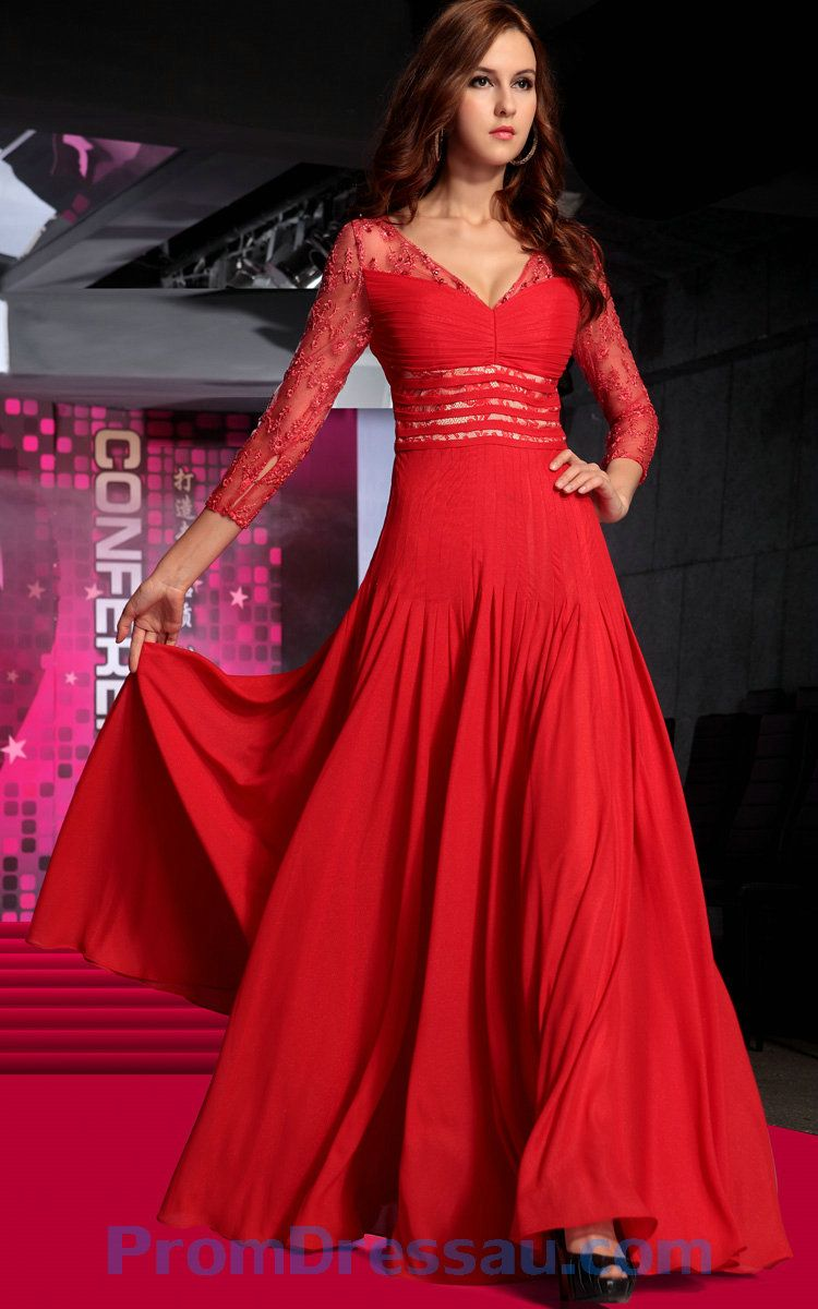 Red Long Sleeve With Lace Section Dress