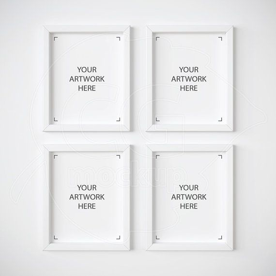 Set of 4 mockup, White frame mockups, 8x10 frame mockup, Digital ...