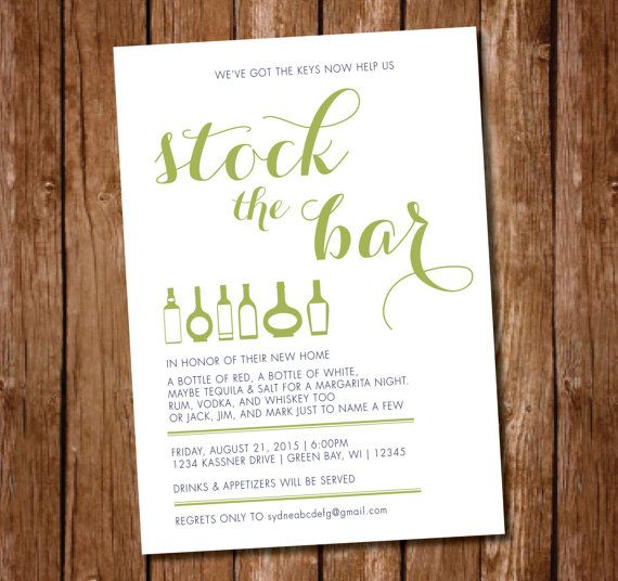 Printable housewarming stock the bar party by appleinvitations also rh pinterest