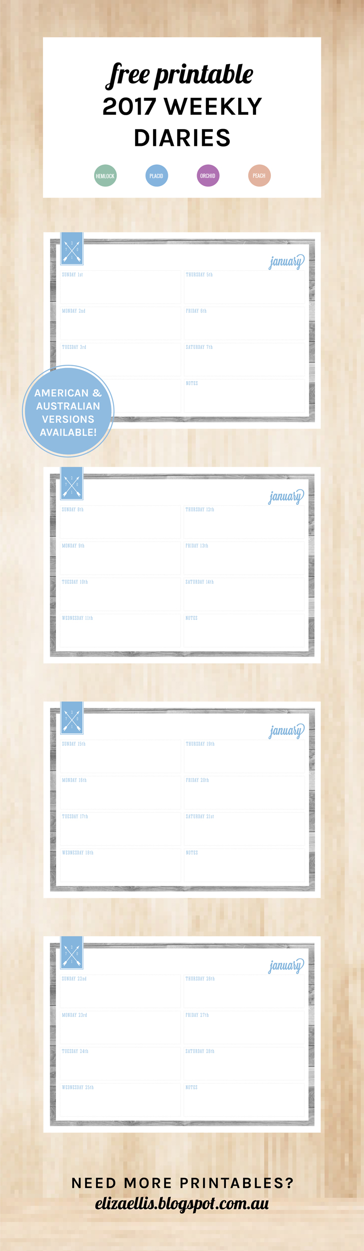 Free Printable 2017 Week to a Spread Diary or Planner from my ...