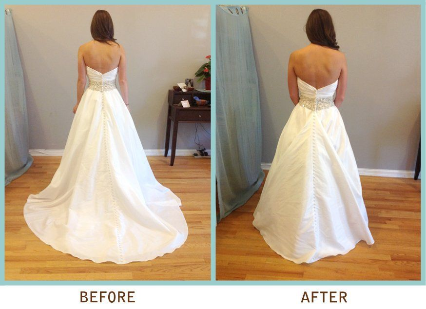 may i see pro pics of you in your dress with no train wedding dress bustleprom dressaugust