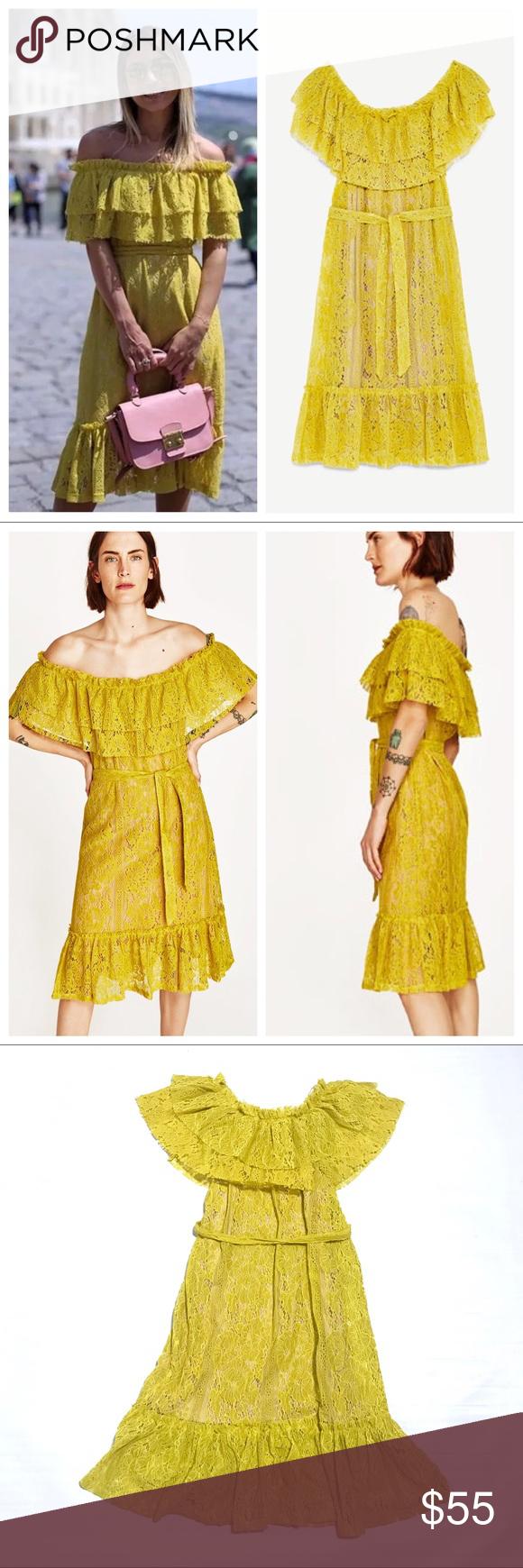 Nwt zara yellow lace dress s small nwt my posh picks pinterest
