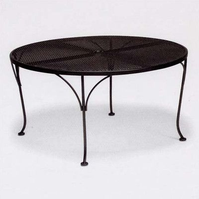762552762ff26 Woodard Mesh Top Round Chat Dining Table Finish  Textured Cypress