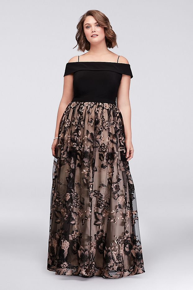 Plus Size Cold Shoulder Ball Gown with Floral Lace David