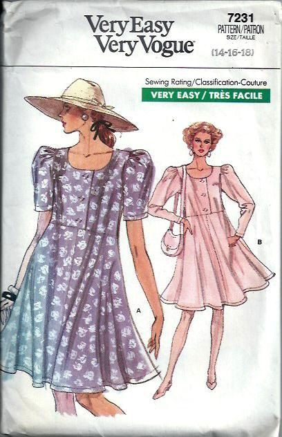 Vogue 7231 Easy Raised Waist Dress Pattern, Size 14-16-18 | fashion ...